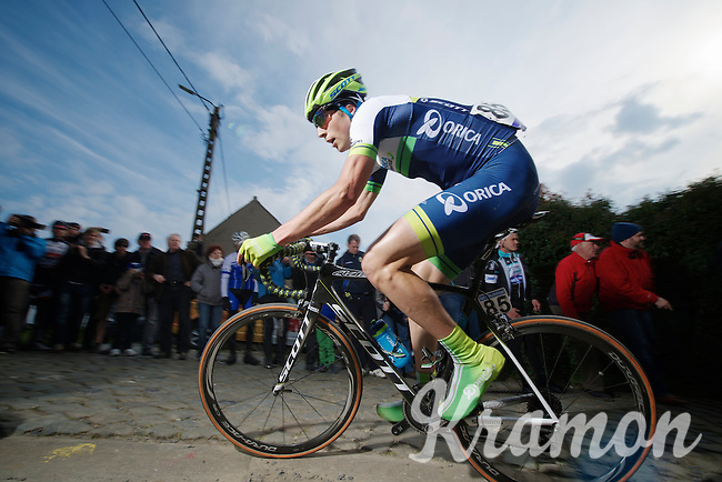 Jens Keukeleire (BEL/Orica-GreenEDGE) up the Paterberg<br /> <br /> <br /> Dwars Door Vlaanderen 2014