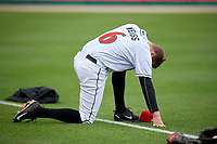 Indianapolis Indians second baseman Erich Weiss (6) before a game against the Toledo Mud Hens on May 2, 2017 at Victory Field in Indianapolis, Indiana.  Indianapolis defeated Toledo 9-2.  (Mike Janes/Four Seam Images)