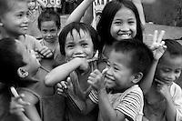 Street Children Slum area Manila from the Car Window, Philippines