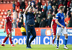 Aberdeen v St Johnstone…18.09.21  Pittodrie    SPFL<br />Saints boss Callum Davidson applauds the travelling St Johnstone fans at full time<br />Picture by Graeme Hart.<br />Copyright Perthshire Picture Agency<br />Tel: 01738 623350  Mobile: 07990 594431