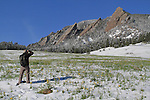 Man photographing  a spring snow in Boulder, Colorado, USA. .  John leads private photo tours in Boulder and throughout Colorado. Year-round.