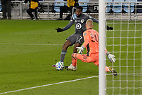 ST PAUL, MN - NOVEMBER 22: Kevin Molino #7 of Minnesota United FC takes a shot at William Yarbrough #50 of Colorado Rapids during a game between Colorado Rapids and Minnesota United FC at Allianz Field on November 22, 2020 in St Paul, Minnesota.