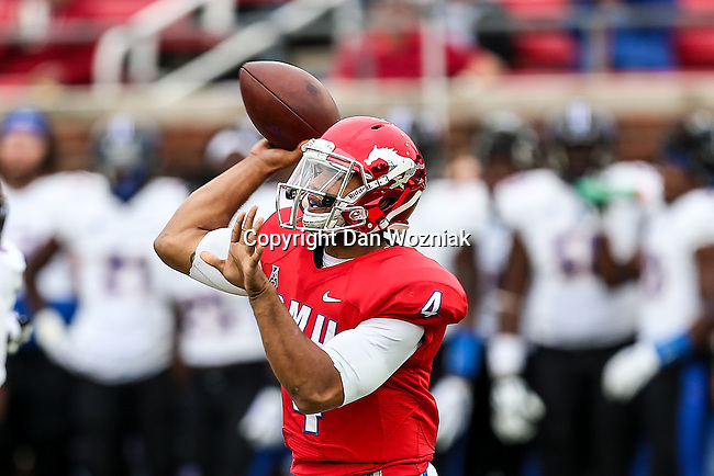 Southern Methodist Mustangs quarterback Matt Davis (4) in action during the game between the Tulsa Golden Hurricanes and the SMU Mustangs at the Gerald J. Ford Stadium in Dallas, Texas.