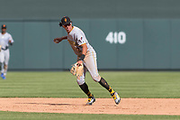 Surprise Saguaros shortstop Cole Tucker (2), of the Pittsburgh Pirates organization, prepares to make a throw to first base during an Arizona Fall League game against the Salt River Rafters at Salt River Fields at Talking Stick on October 23, 2018 in Scottsdale, Arizona. Salt River defeated Surprise 7-5 . (Zachary Lucy/Four Seam Images)