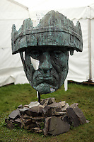 Wednesday 28 May 2014, Hay on Wye, UK<br /> Pictured: A sculpture of a head of a soldier wearing a helmet called The Abandoned Soldier, Do You See What I See<br /> Re: The Hay Festival, Hay on Wye, Powys, Wales UK.