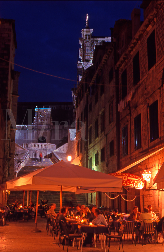Croatia. Dubrovnik Old City. People eating at the  restaurants in Gundulic's Square (Gunduliceva Polijana) at night.