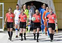20180307 - LARNACA , CYPRUS :  referees with Ukrainian assistant referee Oleksandra Vdovina , Dutch assistant referee Fijke Hoogendijk ,  Ukrainian referee Anastasia Romanyuk and Finnish assitant referee Heini Hyvonen pictured during a women's soccer game between  Slovakia and the Czech Republic , on Wednesday 7 March 2018 at the GSZ Stadium in Larnaca , Cyprus . This is the final game in a decision for 9 th or 10 th place of the Cyprus Womens Cup , a prestigious women soccer tournament as a preparation on the World Cup 2019 qualification duels. PHOTO SPORTPIX.BE   DAVID CATRY