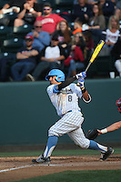 Trent Chatterton (8) of the UCLA Bruins bats during a game against the Arizona Wildcats at Jackie Robinson Stadium on May 16, 2015 in Los Angeles, California. UCLA defeated Arizona, 6-0. (Larry Goren/Four Seam Images)