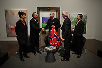January 21, 2014 - Nathalie Bondil (L) watch Scottish painter Peter Doig (M) receive a Montreal Canadien jersey from formers players including Guy Lafleur (M-L)<br /> juste before the news conference for<br /> NO FOREIGN LAND - NULLE TERRE ETRANGERE,  his first North-American major Retrospective, held at Montreal Museum of Fine Arts, january 25 to May4, 2014.