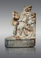 Roman Sebasteion relief  sculpture of  Meleager and a boar Aphrodisias Museum, Aphrodisias, Turkey. <br /> <br /> Meleager stands naked in front of a rocky outcrop. In the foreground lies a dead Calydonian boar, Above, a local nymph emerges from behind a fold in the landscape. The boar hunt took place on the imposing Mt Zygos at Calydon.