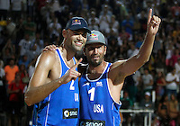 Phil Dalhausser, left, and Sean Rosenthal, of the United States, celebrate at the end of the men's final match between Usa and Latvia at the Beach Volleyball World Tour Grand Slam, Foro Italico, Rome, 23 June 2013. USA defeated Latvia 2-0.<br /> UPDATE IMAGES PRESS/Isabella Bonotto