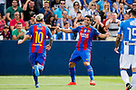 Luis Suarez of FC Barcelona celebrates with teammate Lionel Messi during their La Liga match between Deportivo Leganes and FC Barcelona at the Butarque Municipal Stadium on 17 September 2016 in Madrid, Spain. Photo by Diego Gonzalez Souto / Power Sport Images