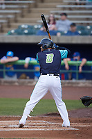 Yainer Diaz (8) of the Lynchburg Hillcats at bat against the Myrtle Beach Pelicans at Bank of the James Stadium on May 22, 2021 in Lynchburg, Virginia. (Brian Westerholt/Four Seam Images)