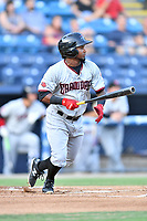Hickory Crawdads shortstop Yonny Hernandez (1) swings at a pitch during a game against the Asheville Tourists at McCormick Field on August 16, 2018 in Asheville, North Carolina. The Crawdads defeated the Tourists 3-0. (Tony Farlow/Four Seam Images)