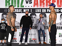 LOS ANGELES, CA - APRIL 30: Andy Ruiz Jr. (L) and Chris Arreola attend the official weigh-in for the Andy Ruiz Jr. vs Chris Arreola Fox Sports PBC Pay-Per-View in Los Angeles, California on April 30, 2021. The PPV fight is on May 1, 2021 at Dignity Health Sports Park in Carson, CA. (Photo by Frank Micelotta/Fox Sports/PictureGroup)