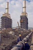 Garadag, Azerbaijan, 01/12/2004..Construction work on the Sangachal Terminal expansion programme, part of the plan to build a pipeline for oil exports from Azerbaijan through Georgia to Ceyhan in Turkey.....