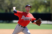 Pitcher David Peterson (35) of the Atlanta Braves farm system in a Minor League Spring Training workout on Monday, March 16, 2015, at the ESPN Wide World of Sports Complex in Lake Buena Vista, Florida. (Tom Priddy/Four Seam Images)