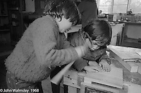 Carpentry workshop, Summerhill school, Leiston, Suffolk, UK. 1968.