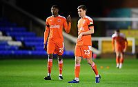 Blackpool's Marvin Ekpiteta, left, with team-mate Daniel Leo Gretarsson<br /> <br /> Photographer Chris Vaughan/CameraSport<br /> <br /> The EFL Sky Bet League One - Peterborough United v Blackpool - Saturday 21st November 2020 - London Road Stadium - Peterborough<br /> <br /> World Copyright © 2020 CameraSport. All rights reserved. 43 Linden Ave. Countesthorpe. Leicester. England. LE8 5PG - Tel: +44 (0) 116 277 4147 - admin@camerasport.com - www.camerasport.com