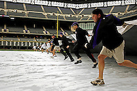 8 September 2006: Coors Field - interior prior to game. Grounds Crew removed infield tarp after a rain delay. The Rockies defeated the Nationals 11-8 at Coors Field in Denver, Colorado...Mandatory Photo Credit: Ed Wolfstein.