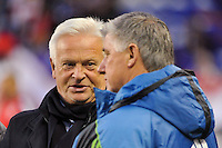 New York Red Bulls head coach Hans Backe talks with Seattle Sounders head coach Sigi Schmid before the game. The New York Red Bulls defeated the Seattle Sounders 1-0 during a Major League Soccer (MLS) match at Red Bull Arena in Harrison, NJ, on March 19, 2011.