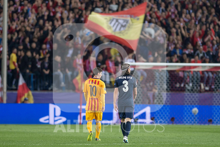 Atletico de Madrid's Filipe Luis and FC Barcelona Lionel Messi during Champions League 2015/2016 Quarter-Finals 2nd leg match. April 13, 2016. (ALTERPHOTOS/BorjaB.Hojas)