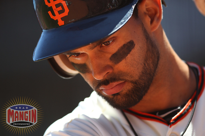 SAN FRANCISCO, CA - JUNE 9:  Angel Pagan #16 of the San Francisco Giants waits in the on deck circle against the Texas Rangers during the game at AT&T Park on Saturday, June 9, 2012 in San Francisco, California. Photo by Brad Mangin