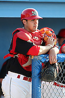 Batavia Muckdogs catcher Geoff Klein (32) before a game vs. the Williamsport Crosscutters at Dwyer Stadium in Batavia, New York July 26, 2010.   Batavia defeated Williamsport 3-2.  Photo By Mike Janes/Four Seam Images