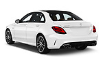Car pictures of rear three quarter view of a 2019 Mercedes Benz C-CLass 43-AMG 4 Door Sedan angular rear