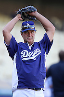 Los Angeles Dodgers manager Don Mattingly #8 before a game against the San Diego Padres at Dodger Stadium on August 30, 2011 in Los Angeles,California. Los Angeles defeated San Diego 8-5.(Larry Goren/Four Seam Images)