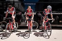 Team Trek-Segafredo warming up before the short, but challenging stage ahead<br /> <br /> Stage 8: Cluses (FRA) to Champéry (SUI)(113km)<br /> 71st Critérium du Dauphiné 2019 (2.UWT)<br /> <br /> ©kramon