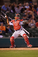 Syracuse Chiefs catcher Pedro Severino (4) throws down during a game against the Rochester Red Wings on July 1, 2016 at Frontier Field in Rochester, New York.  Rochester defeated Syracuse 5-3.  (Mike Janes/Four Seam Images)
