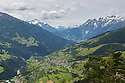 Looking towards the village of Fliess from Gachenblick. Nordtirol, Austrian Alps. June.