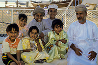 Sur, Oman.  Father and his Children.