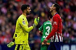 Goalkeeper Fernando Pacheco Flores of Deportivo Alaves  (L) talks to Nikola Kalinic of Atletico de Madrid during the La Liga 2018-19 match between Atletico de Madrid and Deportivo Alaves at Wanda Metropolitano on December 08 2018 in Madrid, Spain. Photo by Diego Souto / Power Sport Images