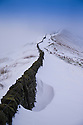 29/12/14<br /> <br /> Snow drifts build up along a wall on Rushup Edge near Castleton in the Derbyshire Peak District.<br /> <br /> <br /> All Rights Reserved - F Stop Press. www.fstoppress.com. Tel: +44 (0)1335 300098