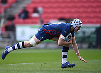 27th March 2021; Ashton Gate Stadium, Bristol, England; Premiership Rugby Union, Bristol Bears versus Harlequins; Fitz Harding of Bristol Bears goes over and scores a try