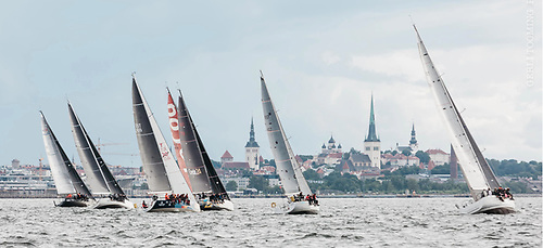 Holm-Kalev Yacht Club racing with Tallinn Old Town in the background. In 2021 the Bay of Tallinn is the venue for the ORC World Championships