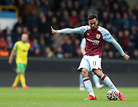 2nd October 2021;  Turf Moor, Burnley, Lancashire, England; Premier League football, Burnley versus Norwich City: Dwight McNeil of Burnley shoots at goal from outside of the penalty area