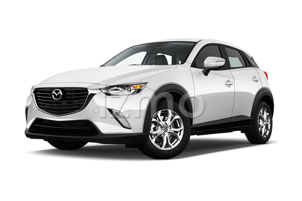 Stock pictures of low aggressive front three quarter view of 2016 Mazda CX3 Skydrive 5 Door Suv Low Aggressive