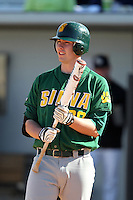 Siena Saints third baseman Brian Fay #28 at bat during a game against the UCF Knights at the UCF Baseball Complex on March 4, 2012 in Orlando, Florida.  Central Florida defeated Siena 15-2.  (Mike Janes/Four Seam Images)