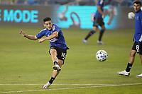 SAN JOSE, CA - SEPTEMBER 13: Cristian Espinoza #10 of the San Jose Earthquakes during warmups before a game between Los Angeles Galaxy and San Jose Earthquakes at Earthquakes Stadium on September 13, 2020 in San Jose, California.