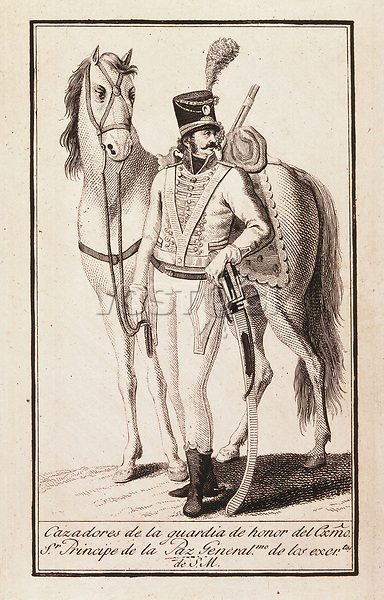 Chasseur of the Godoy's honour guard, of His Majesty's armies. Engraving. SPAIN. Madrid. Municipal Museum.