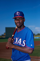 AZL Rangers shortstop Osleivis Basabe (2) poses for a photo before an Arizona League game against the AZL Athletics Gold on July 15, 2019 at Hohokam Stadium in Mesa, Arizona. The AZL Athletics Gold defeated the AZL Rangers 9-8 in 11 innings. (Zachary Lucy/Four Seam Images)