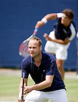 17-6-08, Rosmalen, Tennis,Ordina Open,     Martin Verkerk (voorgrond) en dubbelpartner Jesse Huta Galung