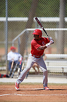 St. Louis Cardinals Magneuris Sierra (7) bats during a minor league Spring Training game against the Washington Nationals on March 27, 2017 at the Roger Dean Stadium Complex in Jupiter, Florida.  (Mike Janes/Four Seam Images)