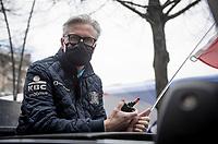 race director Scott Sunderland at the helm at race start in Leuven<br /> <br /> 61st Brabantse Pijl 2021 (1.Pro)<br /> 1 day race from Leuven to Overijse (BEL/202km)<br /> <br /> ©kramon