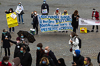 Rome, Italy. 10th Apr, 2021. Today, Rete Scuola In Presenza (1.), students, teachers and parents held a national demonstration in Rome's Piazza del Popolo (2.). The aim of the rally was to protest against the situation of the Italian Schools after one year of the ongoing pandemic Covid-19 / Coronavirus and the measures implemented by the Italian Government concerning the Education, the DAD (Didattica a distanza, distance learning via Internet) which protesters claimed that it has becoming a structural part of School/University timetable, it is not working and it is allegedly causing depression, lack of concentration and self-harming to the students. Speakers of the event, amongst others, were: Professor Daniele Novara, Scientist Doctor Sara Gandini and Professor Giovanfrancesco Vecchio, who all agree that the only solution is to open again all the schools to allow students to have face-to-face teaching and human socialization and interaction.<br />