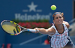 Monica Puig (PUR) loses the  first set to Venus Williams (USA) 6-4 at the US Open in Flushing, NY on August 31, 2015.