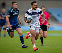 29th August 2020; AJ Bell Stadium, Salford, Lancashire, England; English Premiership Rugby, Sale Sharks versus Bristol Bears; Alapati Leiua of Bristol Bears breaks away to score a late first half solo try for Bristol to make the score 26-7 to Sale